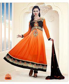 Show details for Orange-Black Designer Anarkali Suit