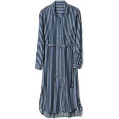 Gap Women TENCEL™ Stripe Midi Shirtdress ($55) ❤ liked on Polyvore featuring dresses, shirt dress, midi dress, blue dress, midi shirt dress and long sleeve midi dress