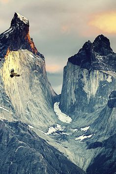 Classic view of Los Cuernos (The Horns) from Parque Nacional Torres del Paine - Patagonia, Chile.