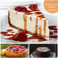 New York Cheesecake - Zoom Yummy - Crochet, Food, Photography Cheesecake Recipes, Dessert Recipes, Cheesecake Frio, Canned Strawberries, Raspberry Recipes, Cakes And More, Chocolate, Cheesecakes, Sweet Recipes