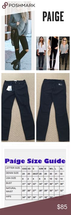 """Anthropologie Paige Overdye Destructed Skinny. NWT Paige Black Overdye Slash Knee Destructed Verdugo Ankle Skinny Jeans, 50% rayon, 28% cotton, 21% polyester, 1% spandex, machine washable, 32"""" waist, 9.5"""" front rise, 13.75"""" back rise, 29"""" inseam, 10"""" leg opening (all around), stretchy, slash ripped knees, five pockets, belt loops, zip fly button closure, measurements are approx. No Trades Anthropologie Jeans Skinny"""