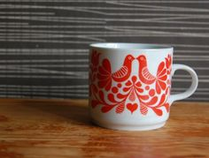 Retro White Coffee Mug with Orange Details --- Made in Hungary by ALFOLDI 1970s --- birds hearts folk art