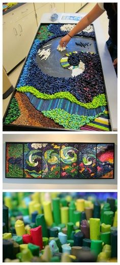 40 Impressive DIY Mosaic Projects - Craftionary DIY crayon art If you really like arts and crafts you will appreciate our site! Group Art Projects, Collaborative Art Projects, Auction Projects, Art Auction, Auction Ideas, Class Projects, Unique Art Projects, Recycled Art Projects, Diy Crayons