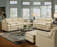 Acme 4pcs. Overstuffed Bonded Leather Sofa Set