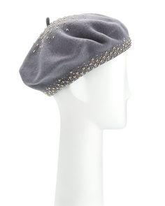 Aubrey Studded Wool Beret, Gray/Silver