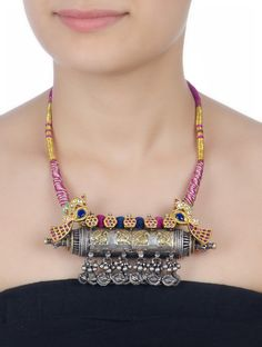 Buy Multicolor Peacock Tribal Silver Necklace Cotton Thread Glass Jewelry Necklaces/Pendants The Golden Gate Traditional Jadau Online at Jaypore.com