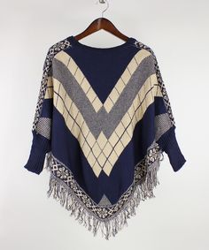 Look what I found on #zulily! RQ Navy & Cream Diamond Fringe-Trim Poncho by RQ #zulilyfinds