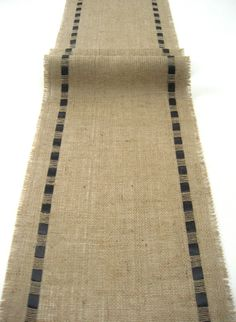 Natural Burlap Table Runner with Black Satin Ribbon - Rustic Chic Home Decor - Contemporary Interior
