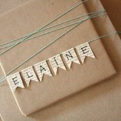 ✂️ That's a Wrap ✂️ diy ideas for gift packaging and wrapped presents - name bunting gift wrapping gift packaging Wrapping Gift, Gift Wraping, Creative Gift Wrapping, Christmas Gift Wrapping, Creative Gifts, Christmas Gifts, Christmas Decorations, Gift Wrapping Ideas For Birthdays, Holiday Gifts