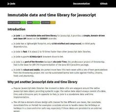 Une petite bibliothèque JavaScript pour la gestion des dates et du temps - js-joda  Js-joda est une bibliothèque JavaScript vous permettant de gérer plus facilement le temps et les dates.   http://www.noemiconcept.com/index.php/en/departement-communication/news-departement-com/207413-webdesign-une-petite-biblioth%C3%A8que-javascript-pour-la-gestion-des-dates-et-du-temps-js-joda.html