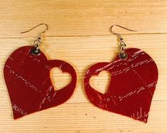 Valentine leather earrings cow leather heart lightweight stainless steel hook rubber stoppers earrings all occasion earrings I Love Jewelry, Clay Jewelry, Jewelry Crafts, Beaded Jewelry, Jewelry Making, Jewelry Ideas, Diy Leather Earrings, Diy Earrings, Leather Jewelry