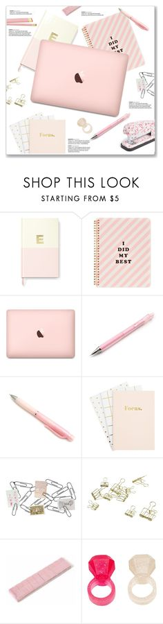 """""""Pink Desk Decor"""" by kellylynne68 ❤ liked on Polyvore featuring interior, interiors, interior design, home, home decor, interior decorating, Kate Spade, ban.do, Philippi Design and HAY"""