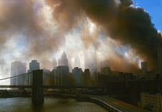 USA. NYC. World Trade Center Attack. - New York, NY, view from Manhattan bridge towards Brooklyn Bridge and downtown Manhattan during aftermath of World Trade Center attacks on September 11, 2001.