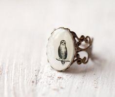 Owl ring  Woodland jewelry R023 by BeautySpot on Etsy, $20.00