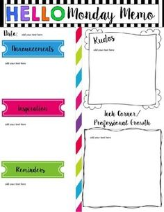 This Is A Monday Memo Template Freebie To All Principals And