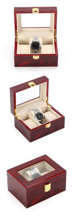 c4c67a8c4 3 Grids Watch Display Box Red High Light MDF Watch Boxes Fashion Watch  Storage Box Piano