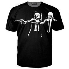 "Getonfleek™ presents the Mob Wars shirt. When Pulp Fiction meets Star Wars you know things are about to get epic. But that epic awesomeness doesn_""Žt have to be in a Galaxy far far away, no! Darth Vader and Boba Fett are right here and ready to knock some heads together. Quentin Tarantino would be proud of what we did here. Wait, what did you say? Say what one more time! MMM! That is a tasty burger!"