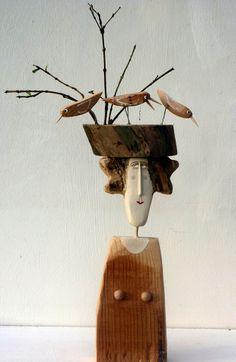 Lynn Muir wooden figures STOP TWITTERING
