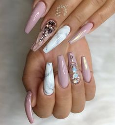 """1,091 Likes, 5 Comments - Oceannailsupply.com (@oceannailsupply) on Instagram: """"Swarovski crystals, metal balls and white pearl chrome effect!! Another amazing set from…"""""""