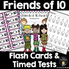 Friends of Ten Flash Cards and Timed Tests- Make Includes Award Certificate Math Flash Cards, Task Cards, Addition Flashcards, Math Fact Fluency, Eureka Math, Math Boards, Second Grade Math, Math Facts, Making 10