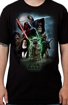 CROWD FUNDED TEE:  The Galactic Civil War was a battle fought for control of the universe. This Star Wars t-shirt features characters from the Rebel Alliance and the Galactic Empire. The shirt shows Yoda, Obi-Wan Kenobi, Chewbacca, Darth Vader, Emperor Palpatine, and Boba Fett. Star Wars is the greatest sci-fi franchise of all time, and this shirt shows the characters that made it a classic saga. For any fan of Star Wars, this Universe t-shirt is a must have.
