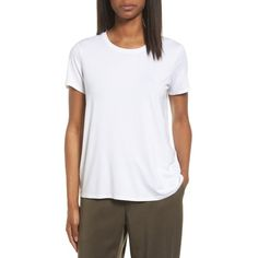 Women's Eileen Fisher Short Sleeve Jersey Tee ($88) ❤ liked on Polyvore featuring tops, t-shirts, petite, white, crew t shirts, short sleeve t shirt, white jersey, short sleeve crew neck t shirt and white t shirt