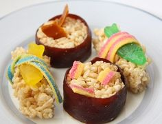 More fun with rice krispies and fruit roll ups - to make a kiddie sushi!