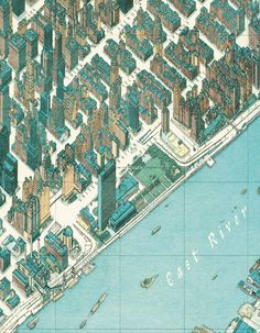 Tadashi Ishihara, Bird's Eye View Manhattan (2000). Le assonometrie di Ishihara rivelano curiosi particolari, come King Kong che si arrampica sull'Empire State Building o il Titanic che, naturalmente, non arrivò mai a New York. Ishihara nascondeva intenzionalmente questi dettagli nei suoi disegni assonometrici