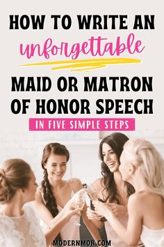 How to write a maid of honor speech that will totally wow! Follow our simple 5-step method to writing and delivering an epic MOH speech, including how to finish with a bang! #howtowriteamaidofhonorspeech #maidofhonorspeechforbestfriend #maidofhonorspeechforsister #ModernMaidofHonor #ModernMOH Bridesmaid Speeches, Bridesmaid Tips, Wedding Speeches, Matron Of Honor Speech, Matron Of Honour, Toast Speech, Best Bridal Shower Gift, Wedding Toasts, Marriage