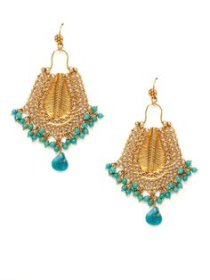 Tribe by Amrapali  Turquoise & Filigree Curved Drop Earrings