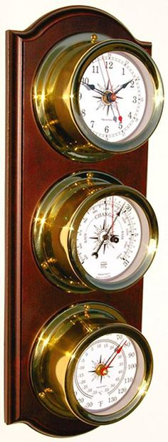 Trintec Euro Weather Station Brass Quartz Clock Thermometer Barometer Marine Nautical Dials on Cherry Stained Wood Plaque EWS-01 -- Read more at the image link. (This is an affiliate link) #WeatherInstruments