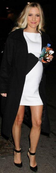 Who made Kristin Cavallari's white print dress and black ankle strap pumps? Versace Dress