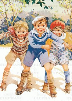 Childhood Encouragement Friendship Fun Illustrator: Sarah Stilwell Weber Imprint: Laughing Elephant Playing Roller Skating'