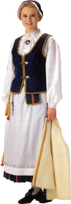 Finnish, Kolismaa - traditional costume of Finland We Are The World, People Around The World, Helsinki, Costumes Around The World, Folk Costume, My Heritage, World Cultures, Costumes For Women, Traditional Dresses