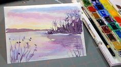 Easy 3 Color Watercolor Sunset More watercolor tutorials here: http://www.youtube.com/playlist?list=PLNxvOHHWCjFhHGT6Y5THXLcU-j3uIRgtN Today we will use 3 co...