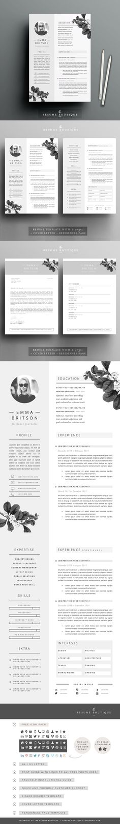 Resume Template 4 pages Minerva Resume, Templates and Resume - resume site