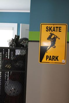 Love the paint in this boys skateboarding room!