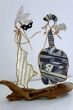 Carnaval à Venise - figurines en ficelle et papier : Accessoires de maison par ficelleetpapier