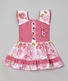 Look at this #zulilyfind! Pink Floral Polka Dot Square Neck Dress - Toddler & Girls by Roberto Toscani #zulilyfinds