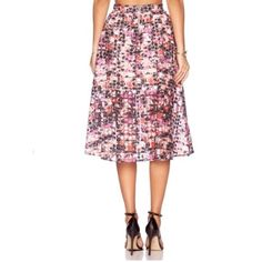 Sam Edelman embroidered floral skirt Stunning semi sheer organza midi skirt with vibrant embroidered flowers. Partially lined to mid thigh and slightly pleated at the waist with exposed back zipper Sam Edelman Skirts
