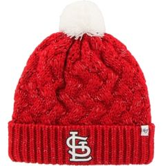 Take your style up a notch when you wear the '47® St. Louis Cardinals Knit Hat. This cap's casual pom and cuffed bottom offer more warmth and comfort than a Cards home run. An embroidered Cards logo ensures you're always representing your favorite franchise while the acrylic metallic yarn woven in a thick crossing pattern provides supreme insulation. Stay warm as you watch the Cards go deep into October with the Fiona Cuffed Knit.