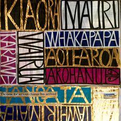 Painting on newspaper by Tracey Tawhiao Maori Designs, Ancient Runes, Newspaper Art, Atelier D Art, New Zealand Art, Jr Art, Maori Art, Kiwiana, Wall Collage