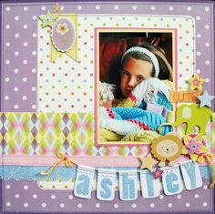 Nana's Kids DCWV Stack Layout, love the dots vs. stripes textures in this simple scrapbook layout.