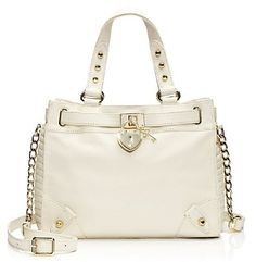 polyester lining magnet closure shoulder drop Leather L x W x H Gold PadLock on Front Magnetic closure, Adustable Crossbody strap option Pro White Purses, Daydream, Juicy Couture, Shoulder Bag, Handbags, My Style, Mini, Leather, Accessories