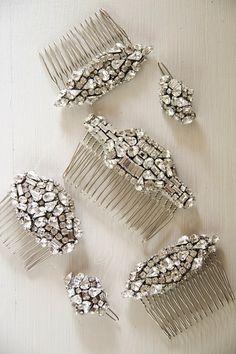 Art deco rhinestone hair clips by @Emily Schoenfeld Schoenfeld Whitehouse Handmade
