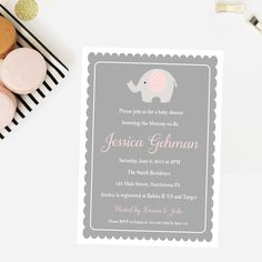 Pink and Grey Elephant Baby Shower Invitation - DIY Printable 5x7 Baby Shower Invitations by PinkPoppyPartyShoppe on Etsy https://www.etsy.com/listing/236473696/pink-and-grey-elephant-baby-shower