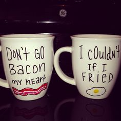 His & Hers corny morning mugs This reminds me of Ella Enchanted