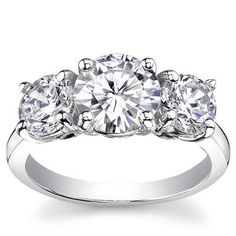 1.50 Ct. Three Stone Diamond Engagement Ring.