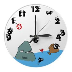 A funny hand drawn clock representing all the things that eat up our time in the form of hungry fish attacking the clock's digits who are trying to escape. A lovely gift for children but not only.