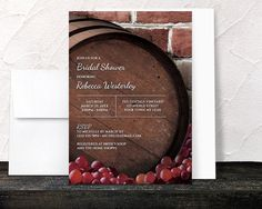 Rustic Wine Barrel Vineyard Bridal Shower Invitations - Country Winery Grapes Brick - Printed Invitations